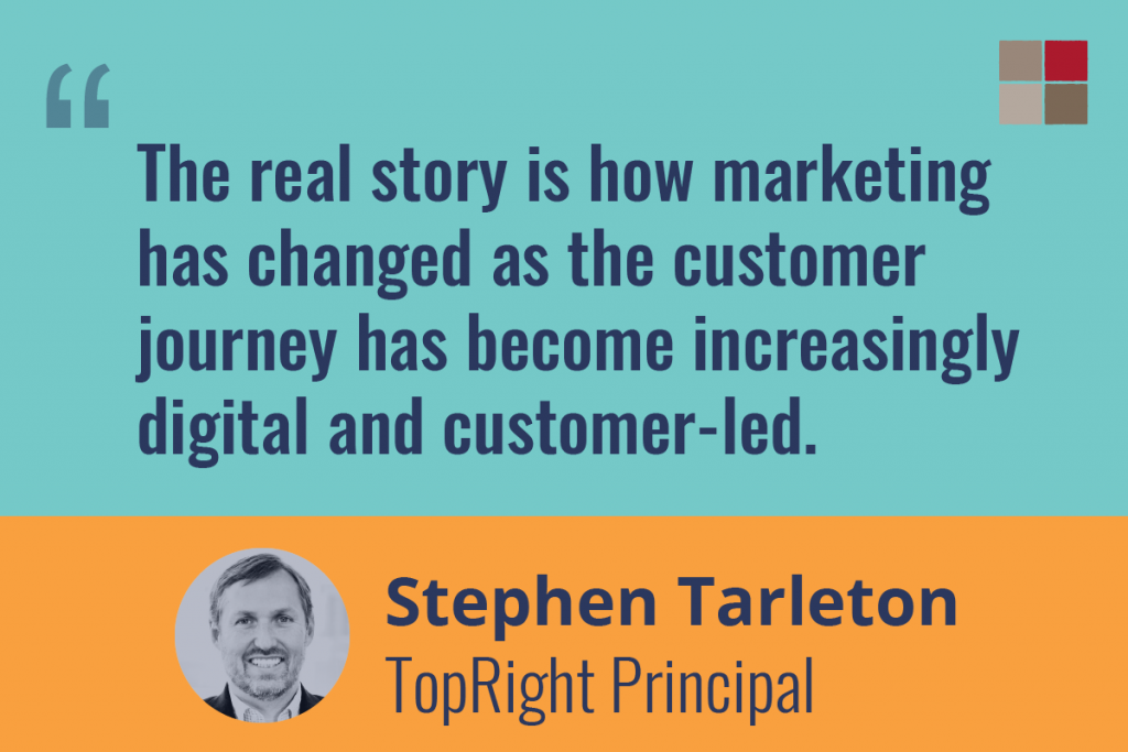 "Quote from Stephen Tarleton: ""Teh real story is how marketing has changed as the customer journey has become increasingly digital and customer-led."""